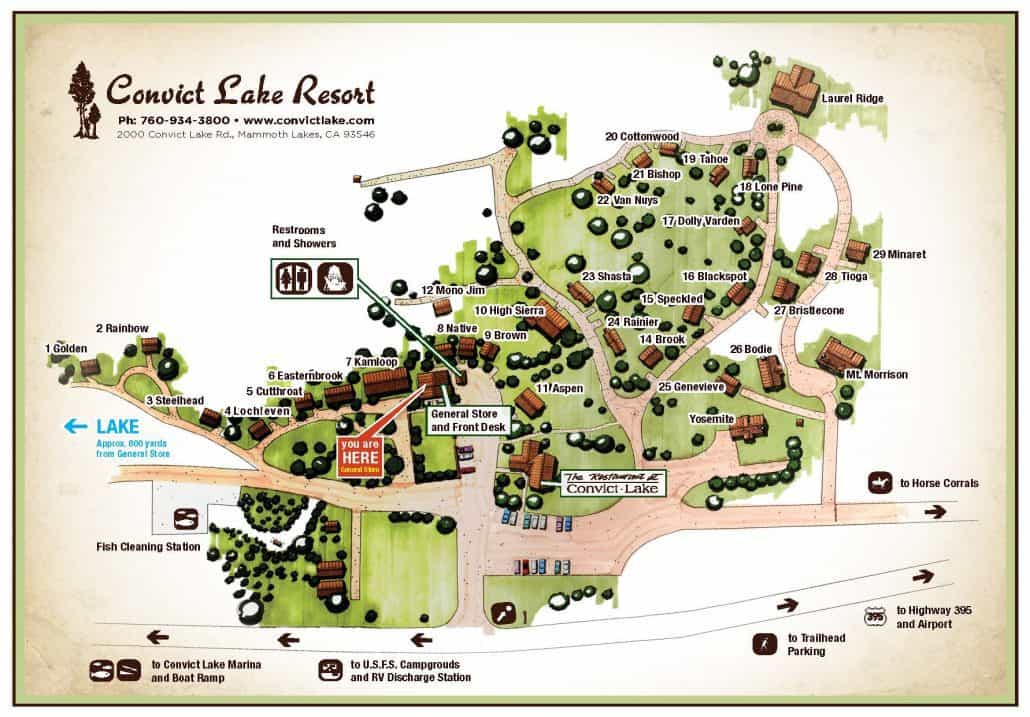 Cabin Map - Convict Lake Resort on mount snow lodging map, vail lodging map, key west lodging map, lake tahoe lodging map, keystone lodging map, grand canyon village lodging map, alta lodging map, beaver creek lodging map, snowbird lodging map, lionshead lodging map, moab lodging map, wintergreen lodging map, gatlinburg lodging map, yosemite lodging map, sedona lodging map, phoenix lodging map,