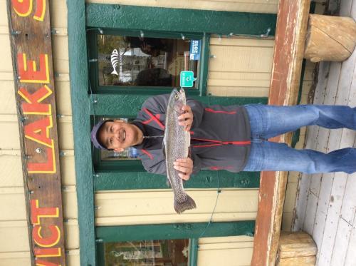 Kevin endo, south shore, valencia CA, 4lb, 8oz, 24in, powerbait salmon peach